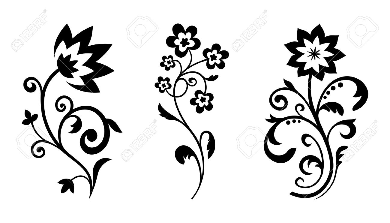 silhouettes of abstract vintage flowers stock vector 15276240