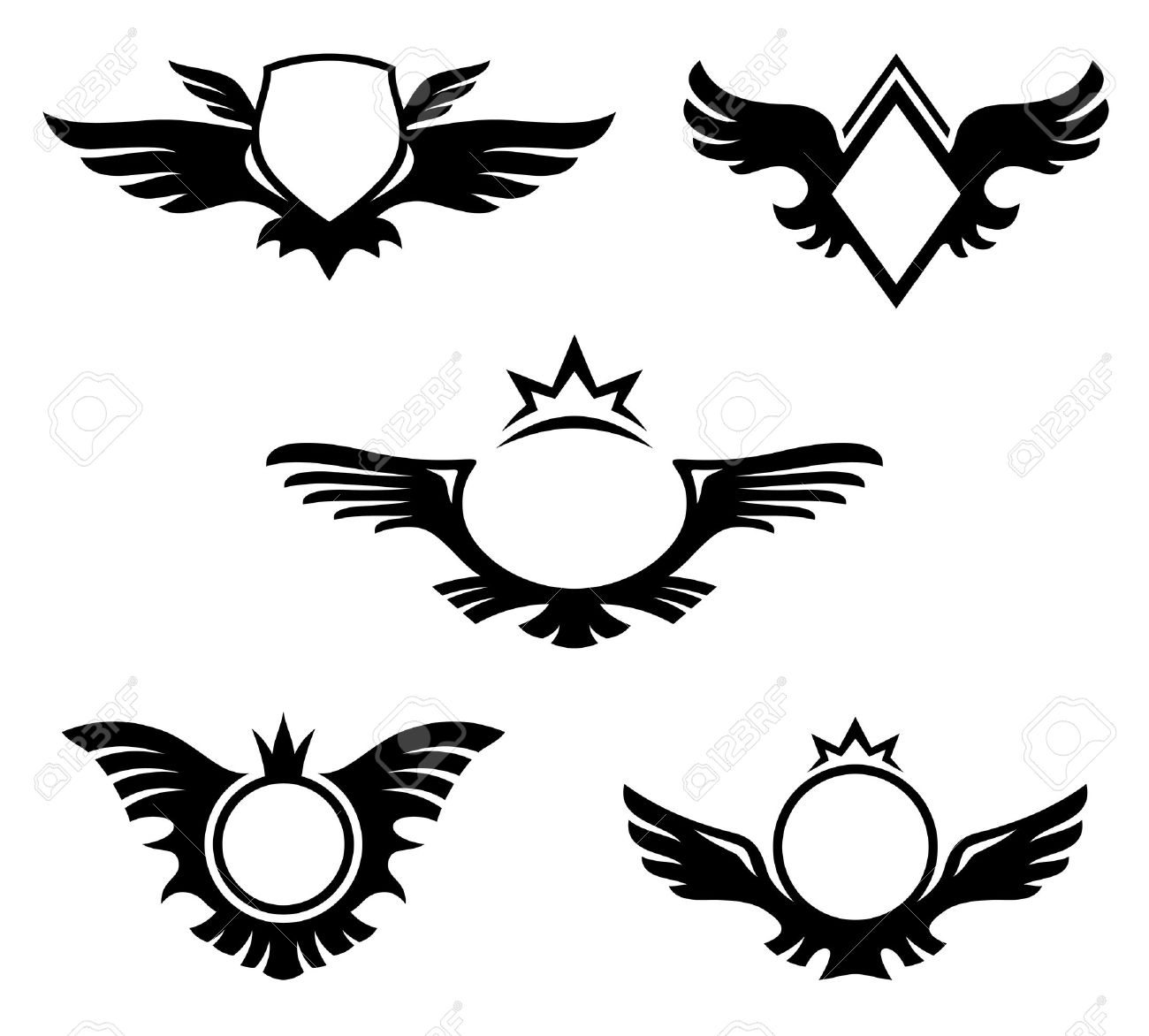 Wings shaped emblems, coats of arms with copyspace Stock Vector - 16401543