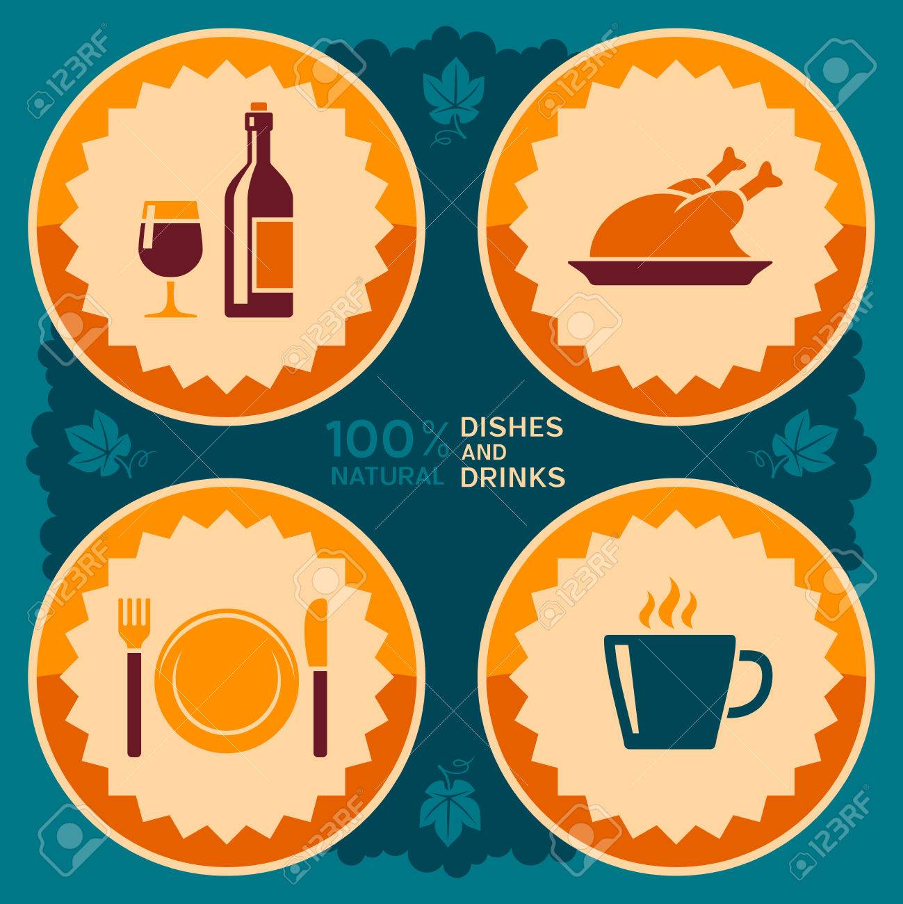 Poster design restaurant - Restaurant Poster Design With Food And Drink Icons Stock Vector 29457747