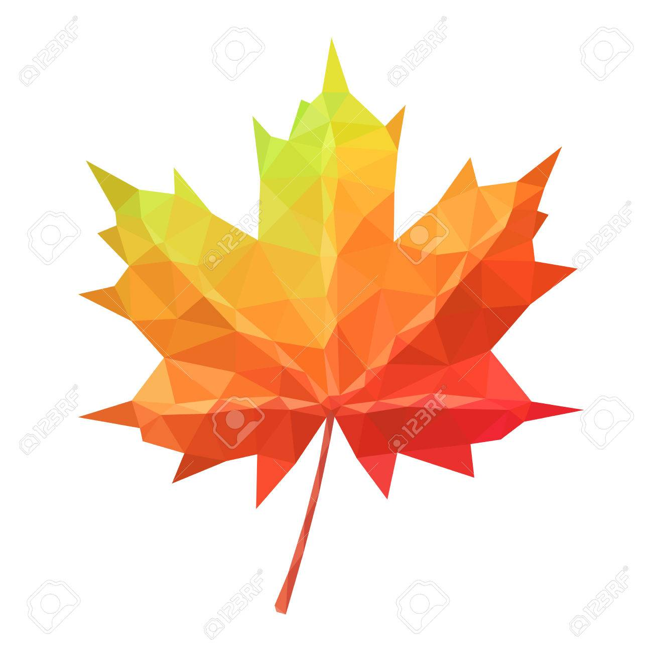 Low poly vector maple leaf geometric pattern - 63113752