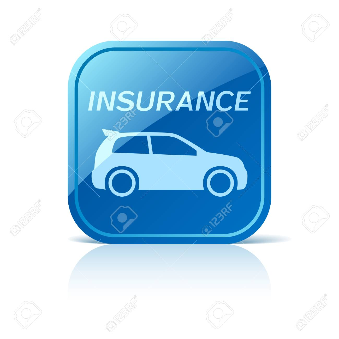 Car Insurance Icon On Blue Web Button Royalty Free Cliparts Vectors