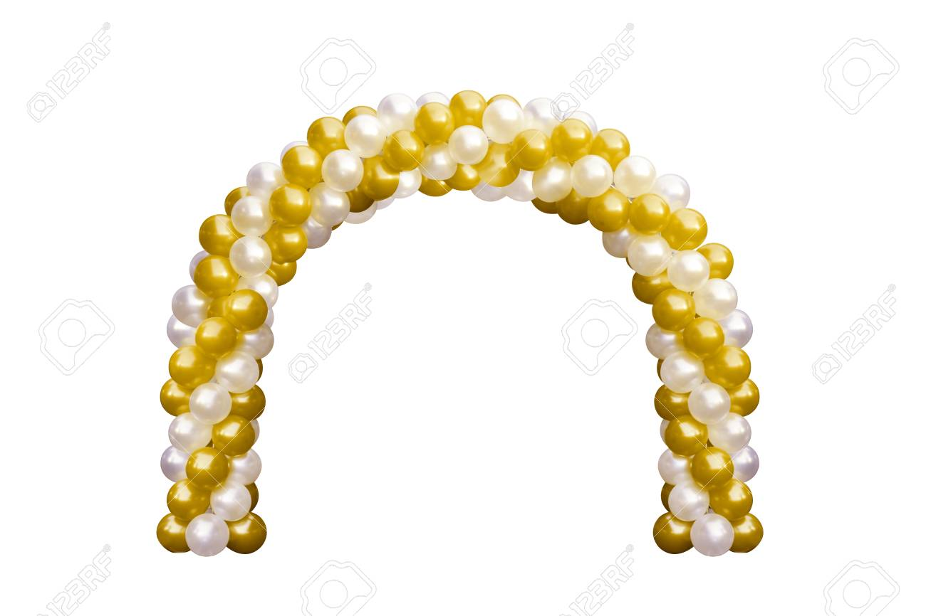 Balloon Archway Door Gold Yellow And White, Arches Wedding, Balloon ...