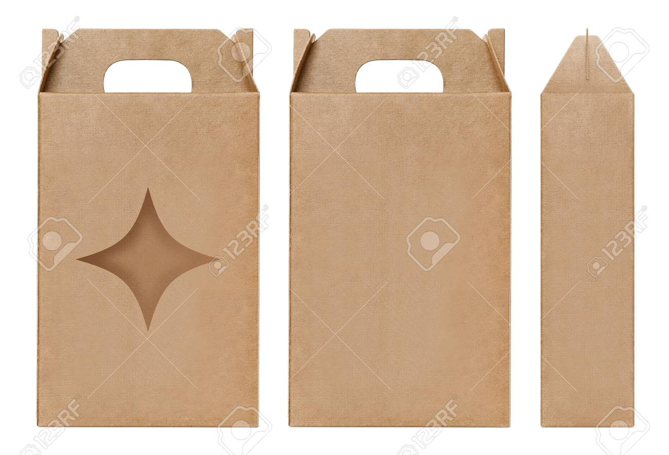 box brown window star shape cut out packaging template empty