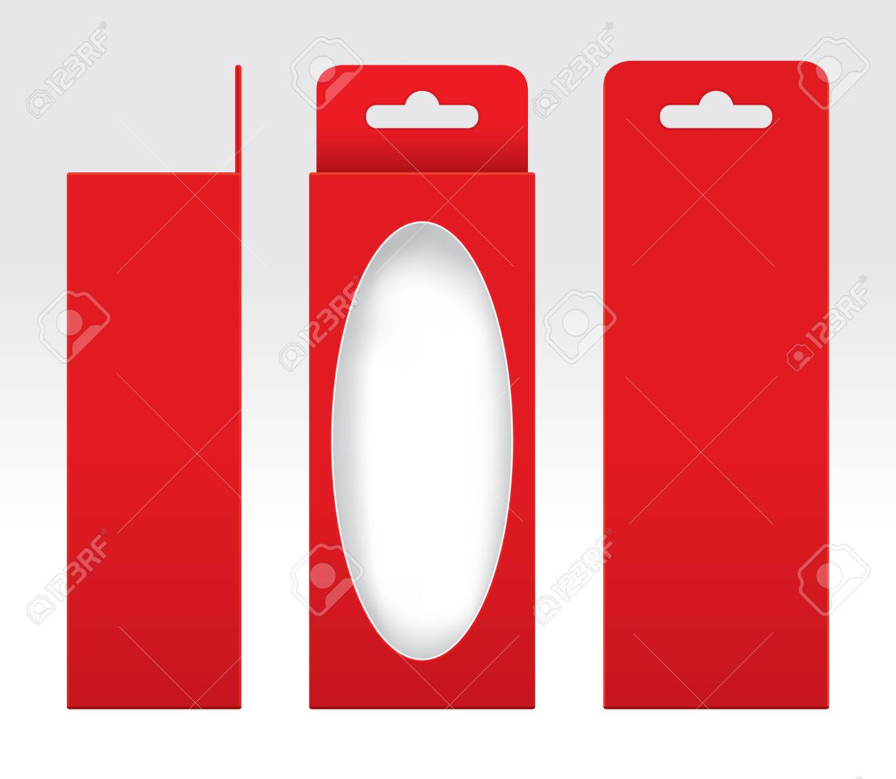 hanging red box window cut out packaging template blank empty