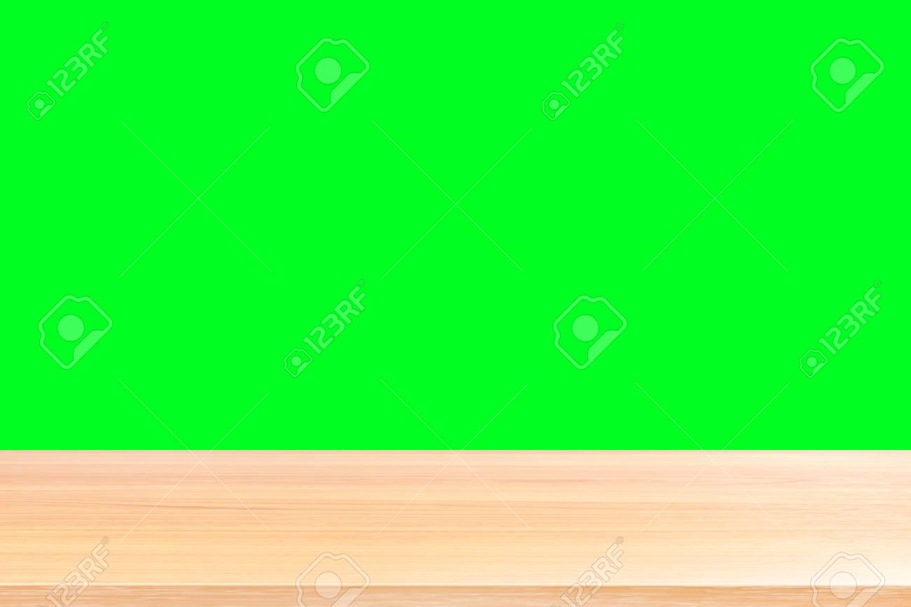 wood floors and green screen background, wood table board empty