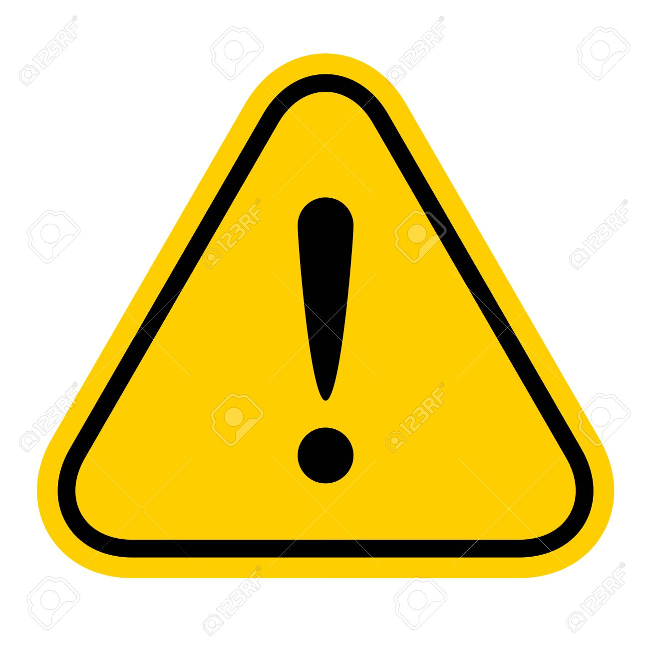 warning sign yellow, exclamation mark icon, danger sign, attention sign, caution alert symbol orange isolated on white background - 120812260