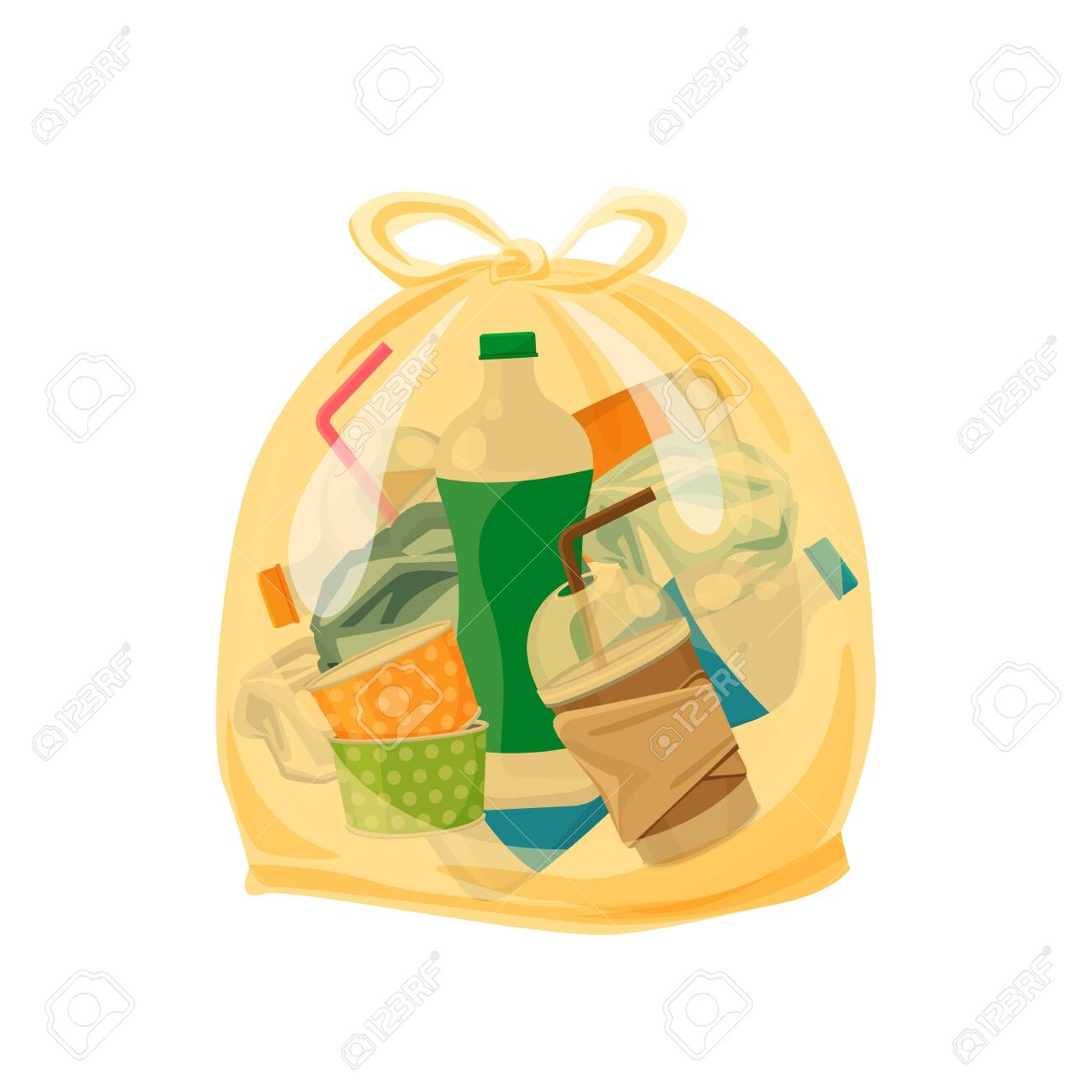 plastic waste packed in the transparent plastic bags for waste separation isolated white square background, Illustration plastic bin bags for waste, clip art plastic bag transparent flat for graphic - 123102730
