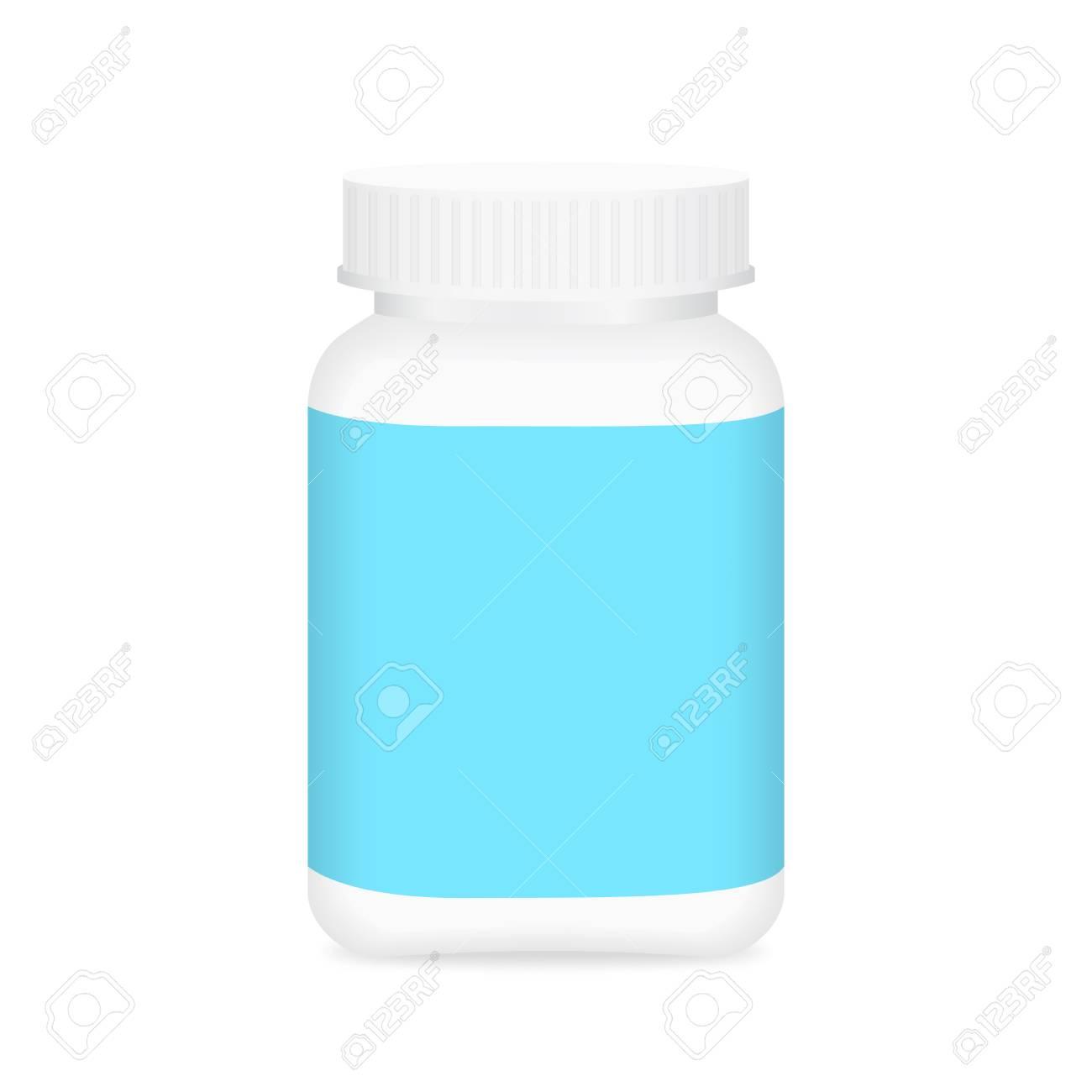 White Medicine Bottle And Blue Label Bottle Plastic White Packaging