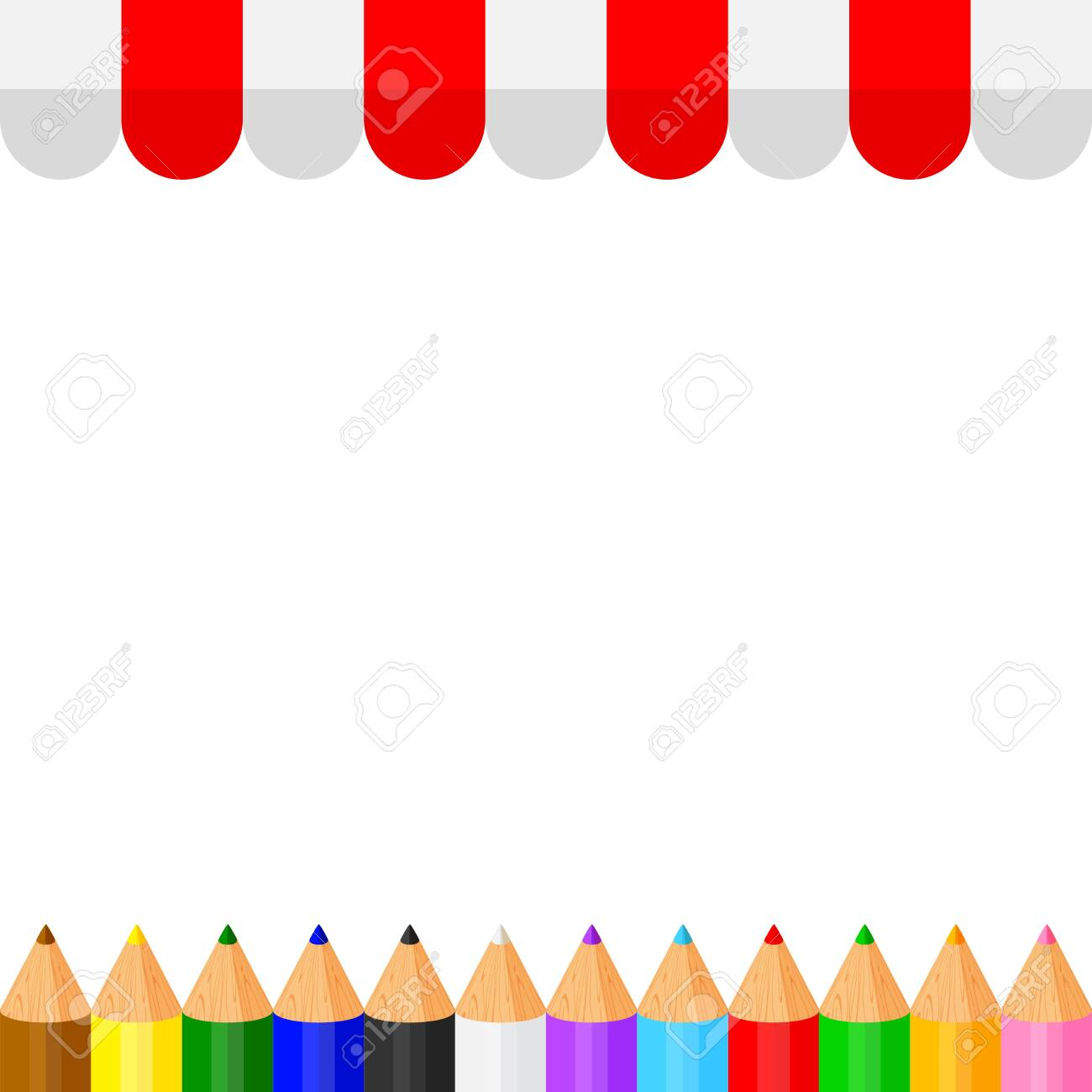 Colorful Crayon Pastel Pencils Cute In A Row On Banner Awning Royalty Free Cliparts Vectors And Stock Illustration Image 143962202