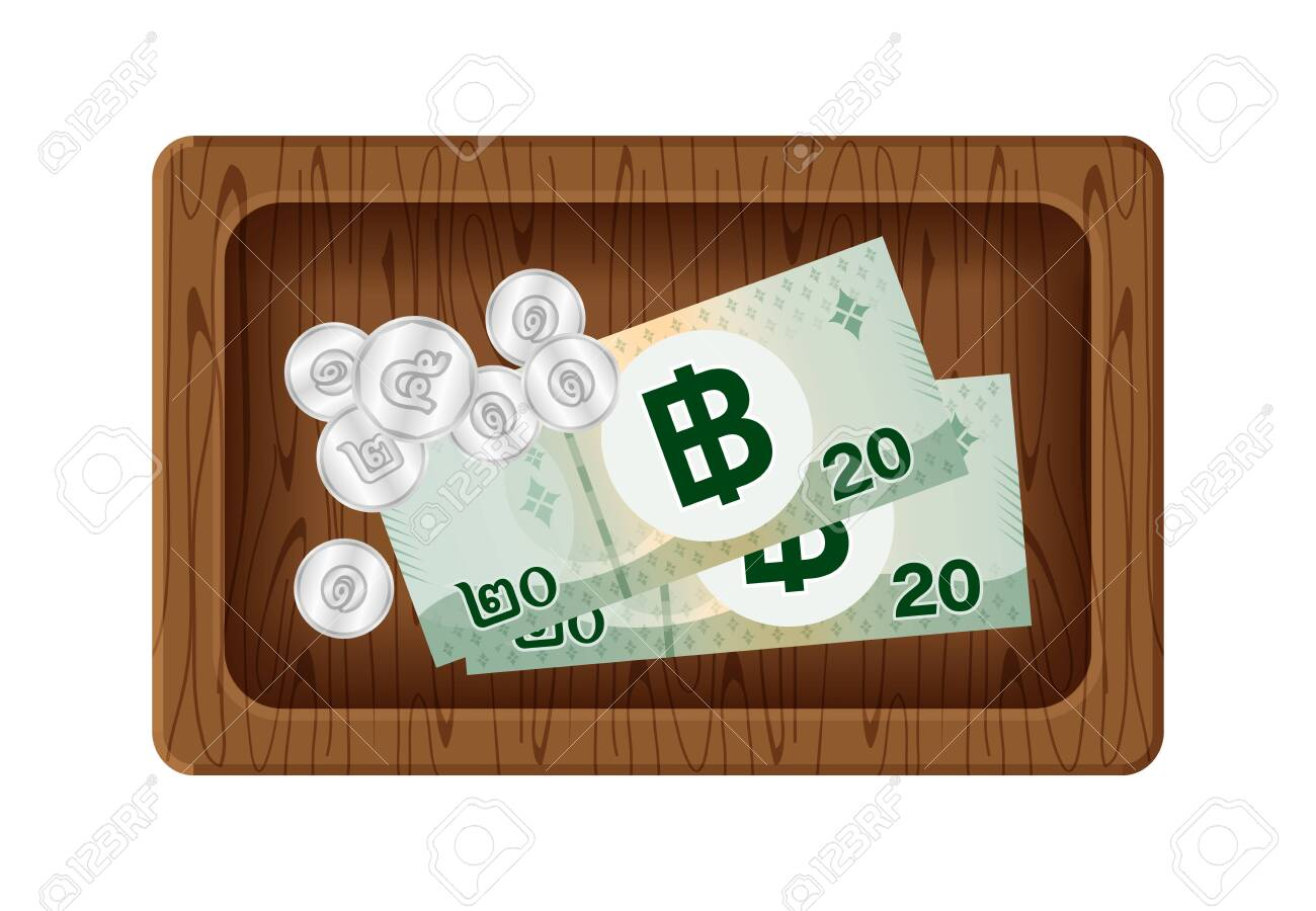 banknote money 20 baht thai and token coin on wood tray, money with giving tip concept, banknote and coin money wooden plate isolated on white, thailand money baht on for give thanks service mind - 144404764