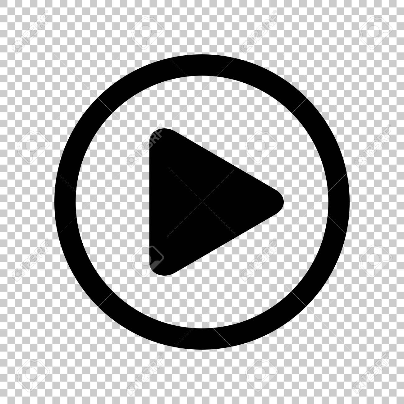 circle play icon for video isolated and transparent, flat button play media, icon play for music and video app, simple black play sign for ui application audio or movie, player button of interface - 144500363