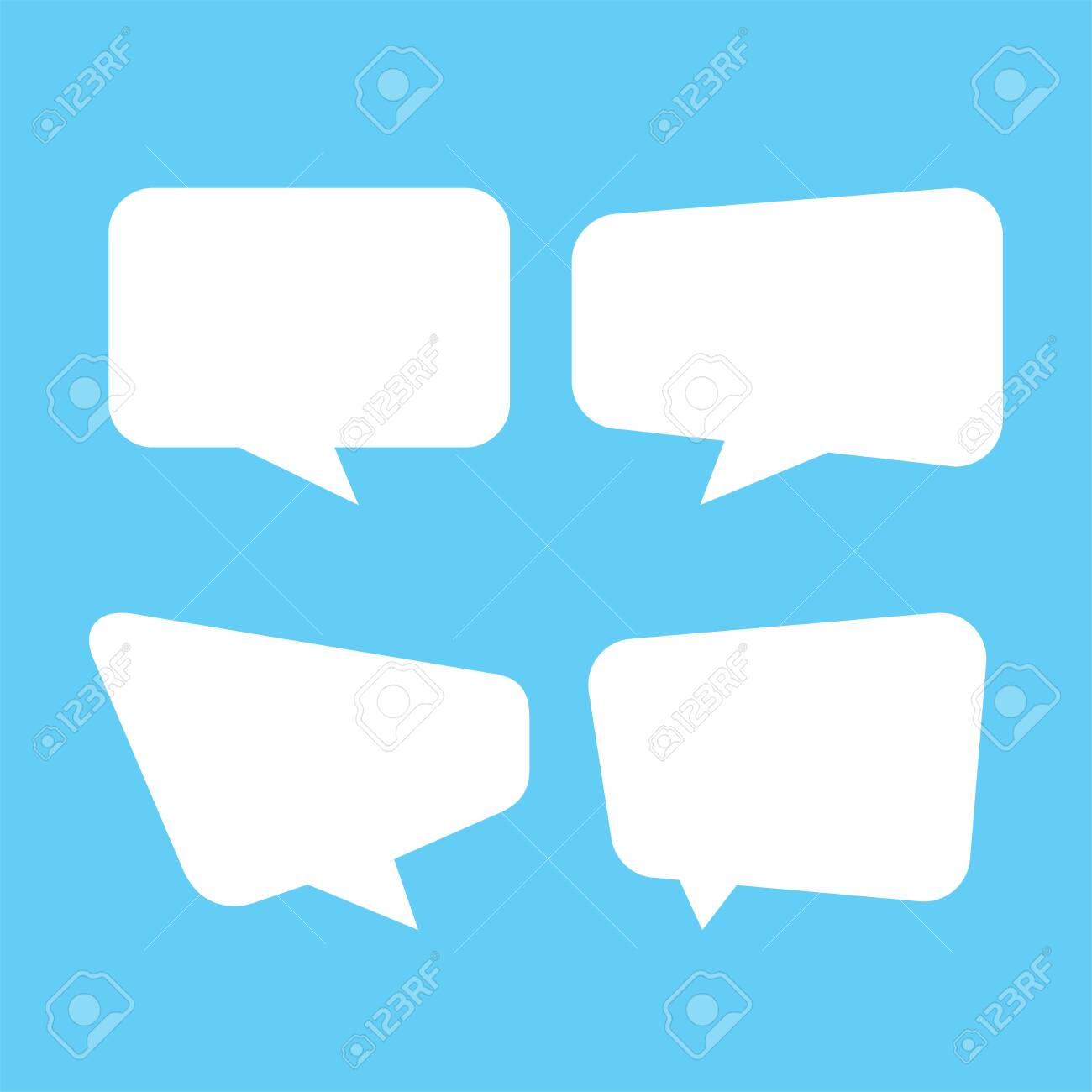 white speech bubble isolated on blue, speech balloon square sign for communication symbol, doodle white speech bubble for talk text, balloon message icon, dialog chatting graphic for icon talk - 149332746