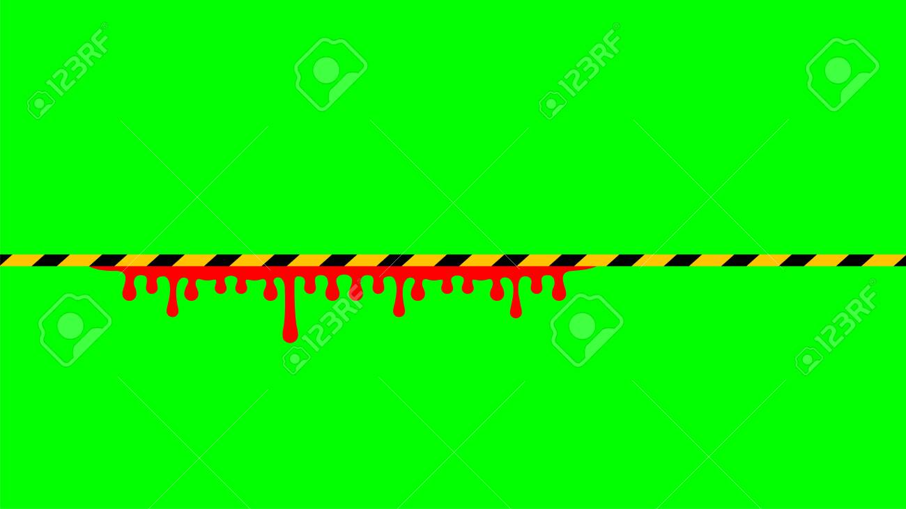 Caution Tape Stripe And Blood Drop On Green Screen Background Royalty Free Cliparts Vectors And Stock Illustration Image 151627789