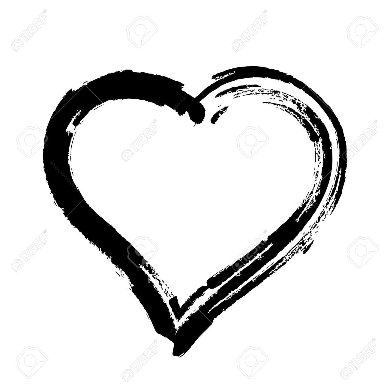 scribble heart shape sketch black color, hand drawn heart symbol isolated on white, heart shape in paint stripe brush stroke - 166586630