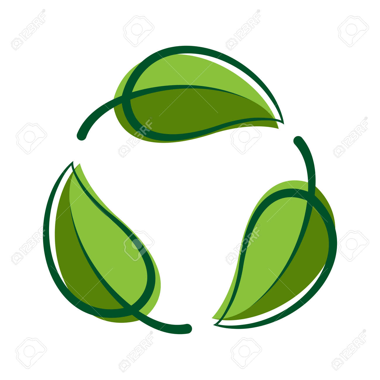 Recycle green leaf graphic symbol, Bio sign, Recycle leaf shape for eco icon, Ecological cycle symbol isolated on white - 166762164