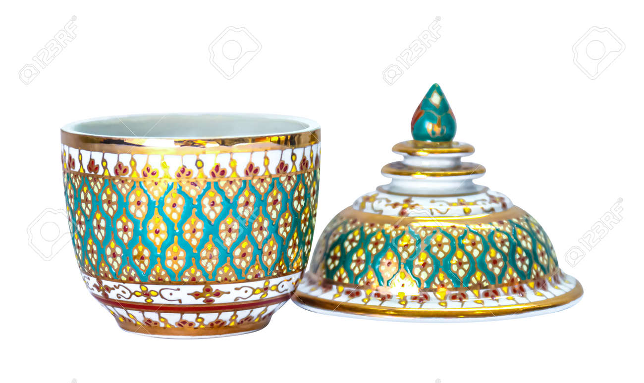 Benjarong Cup Souvenir porcelain from Thailand isolated on white - 169068103