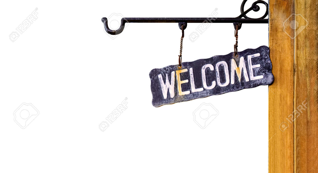 welcome sign retro hanging on wood wall, vintage welcome sign isolated on white - 169183417