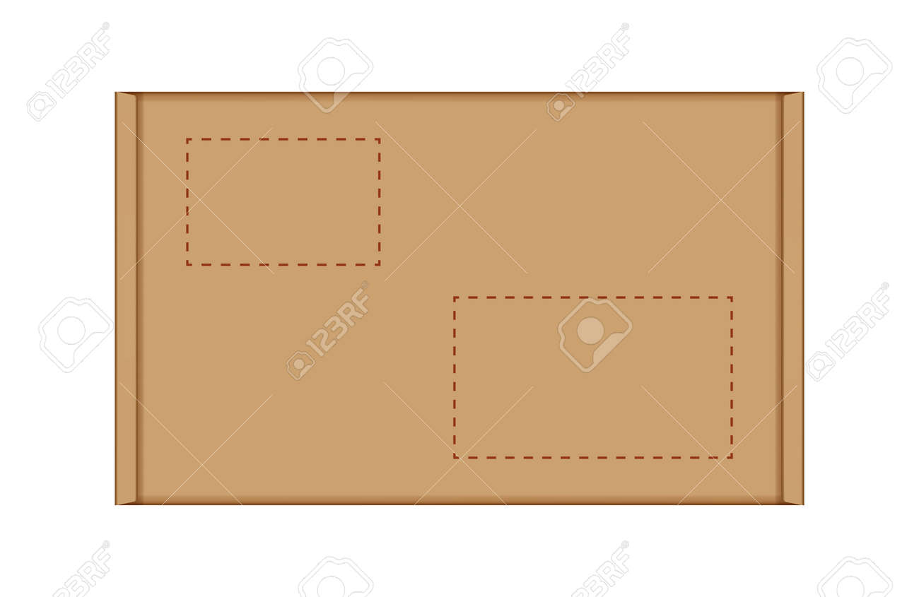 cardboard carton box in top view, brown box or kraft package crate box isolated on white - 169183485
