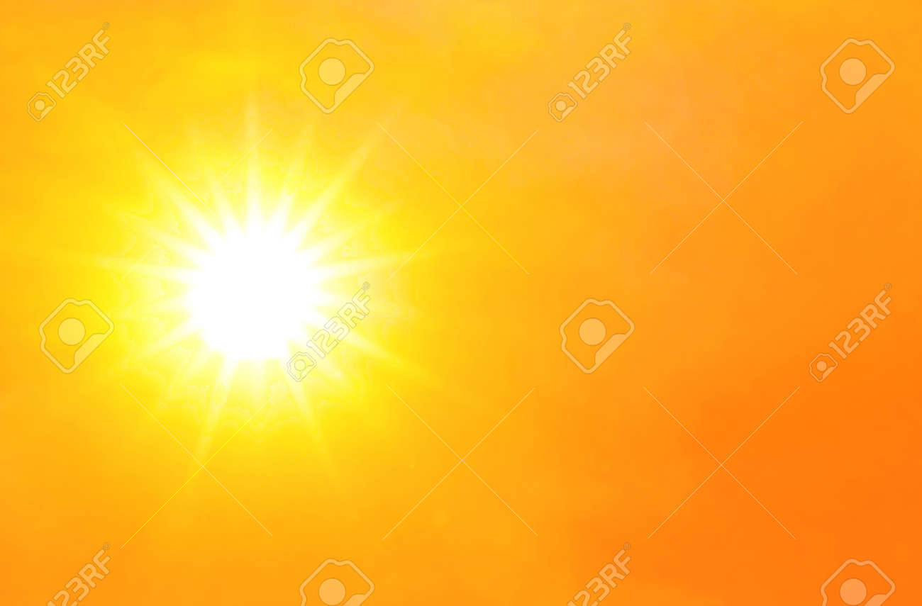 sky orange gold with sunlight shine glow, hot and burning climate concept, yellow gold sky and atmosphere sunshine for background - 169183499