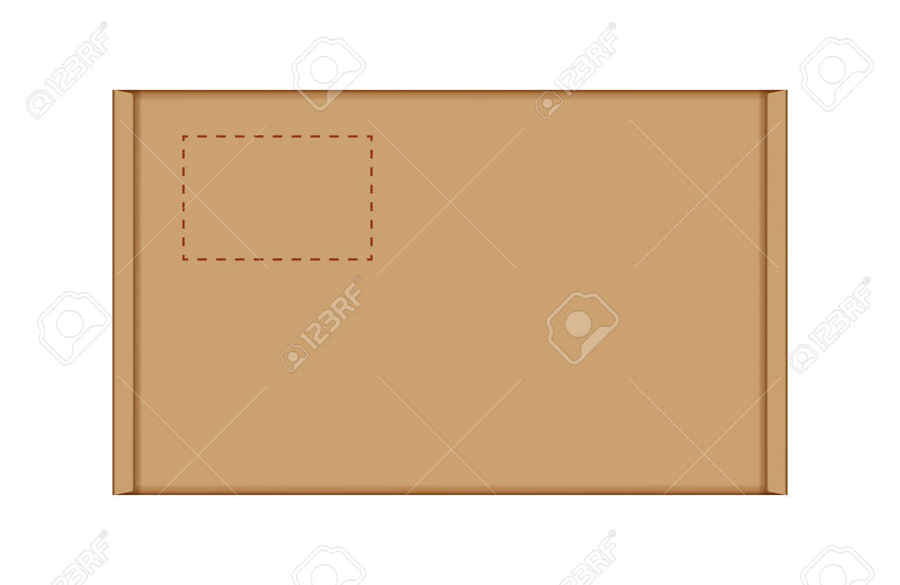 cardboard carton box in top view, brown box or kraft package crate box isolated on white - 169183444