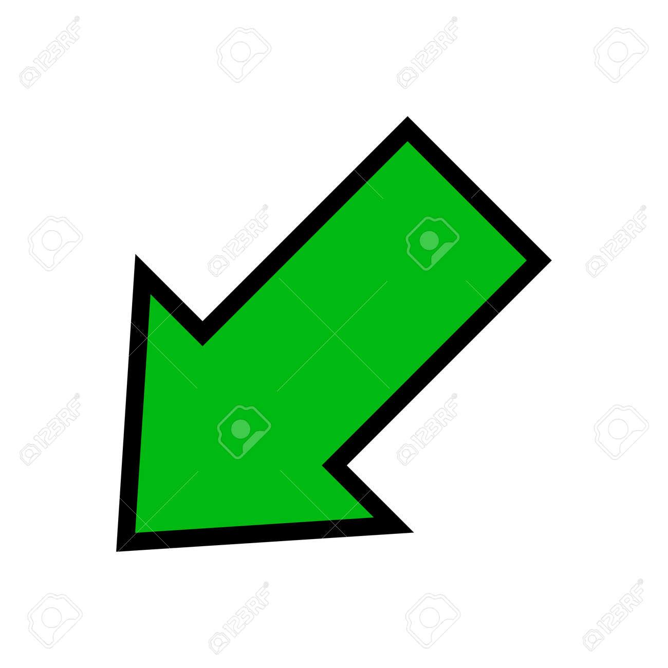 single green arrow, diagonal arrow sign left down isolated on white - 169183446