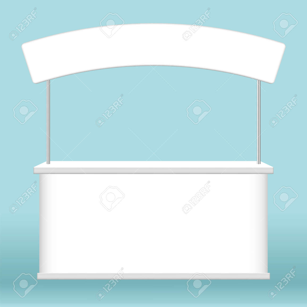 kiosk display, promotion counter stand show, counter stand for retail booth promo, kiosk advertising, counter stall for advertisement, 3D illustration - 169183456
