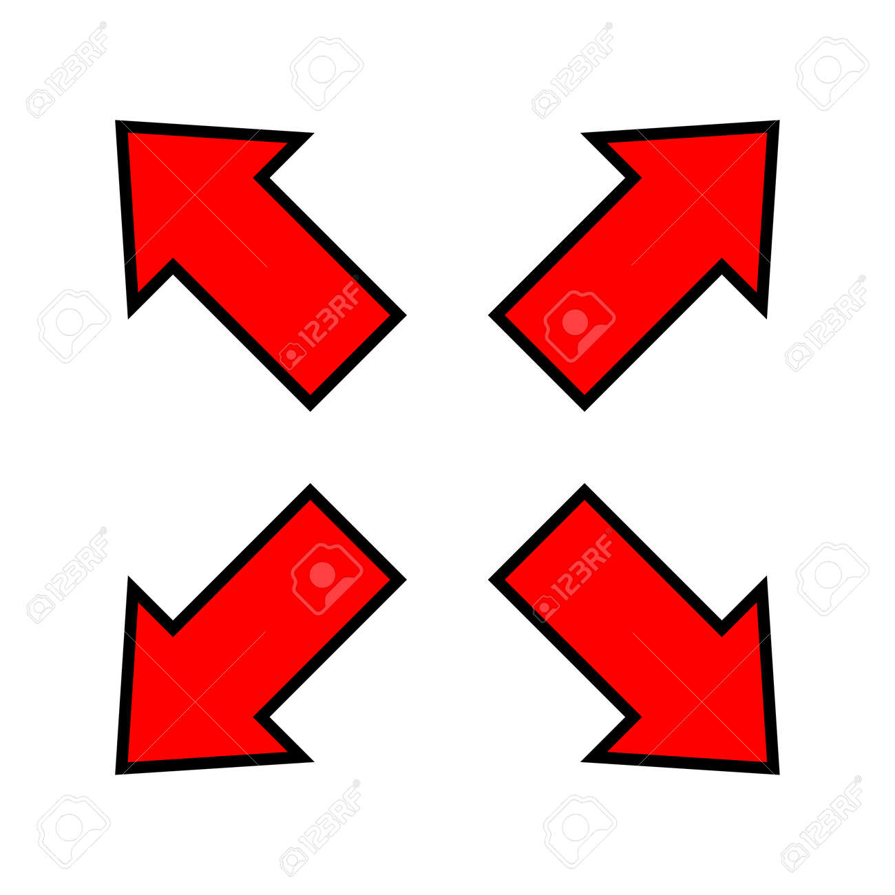 red arrow and diagonal arrow sign for map, arrow button for graphic game, arrow for direction - 169183465