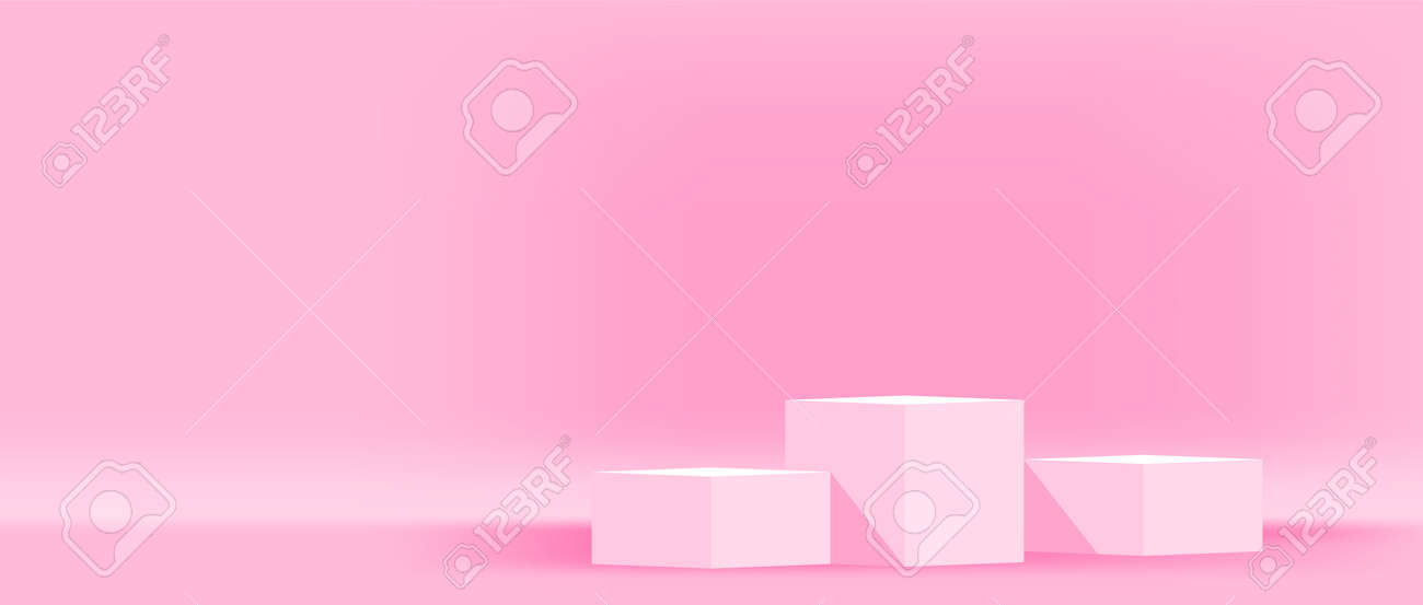 pink pastel pedestal stage for cosmetics make-up product showcase, modern podium 3 step for product display, podium pedestal three layer for advertising background, copy space, 3d illustration - 169183470
