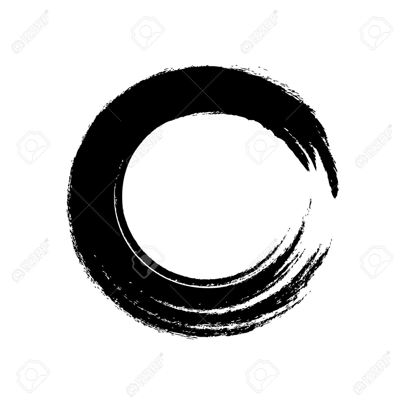black circle brush enso symbol, smear circle shape with scribble hand drawn, ink dirty stain black on white, paint stripe brush strokes circle symbol - 169183478