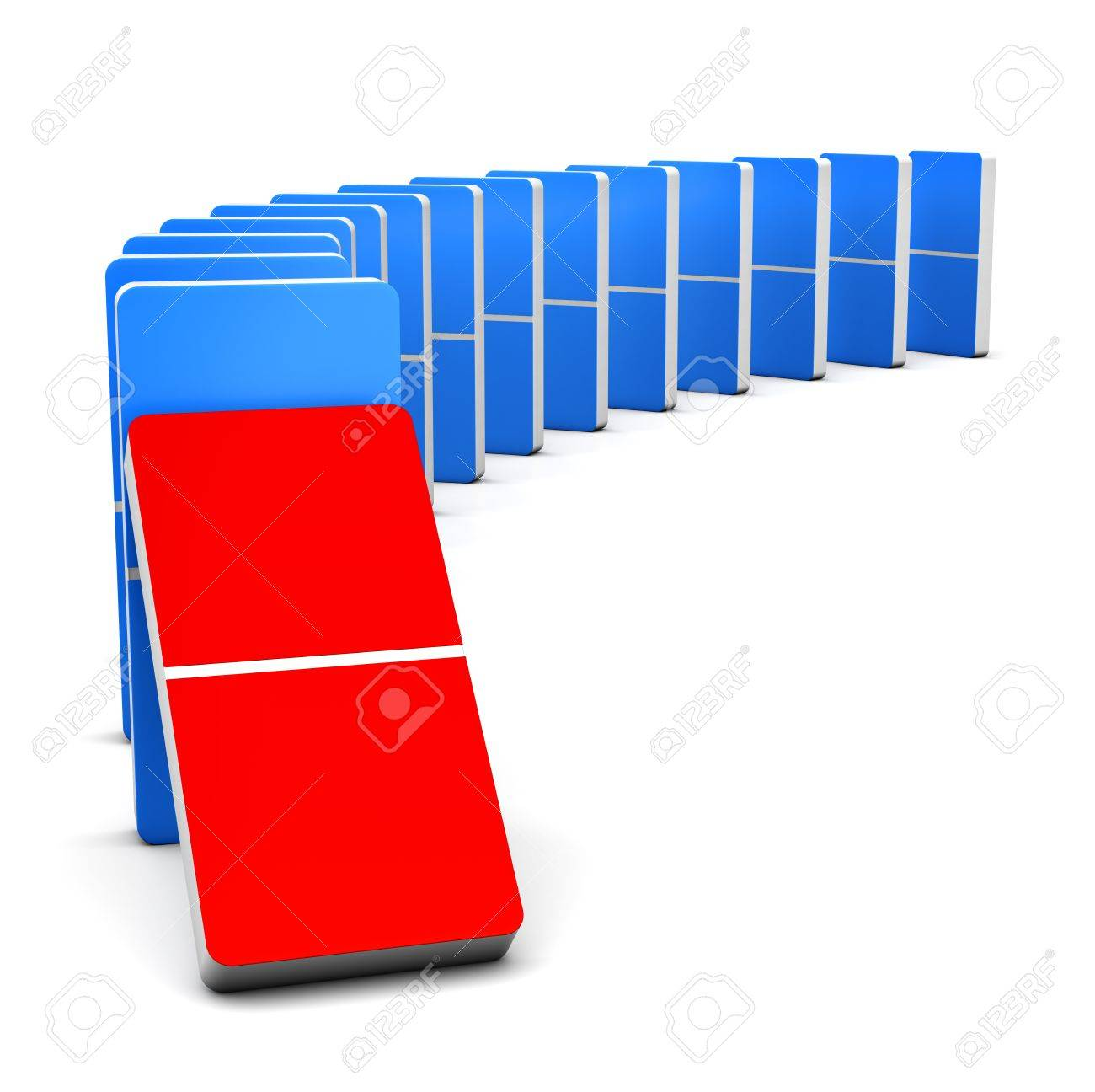 3D render Colorful Red and Blue Domino for Stock Photo - 15702996