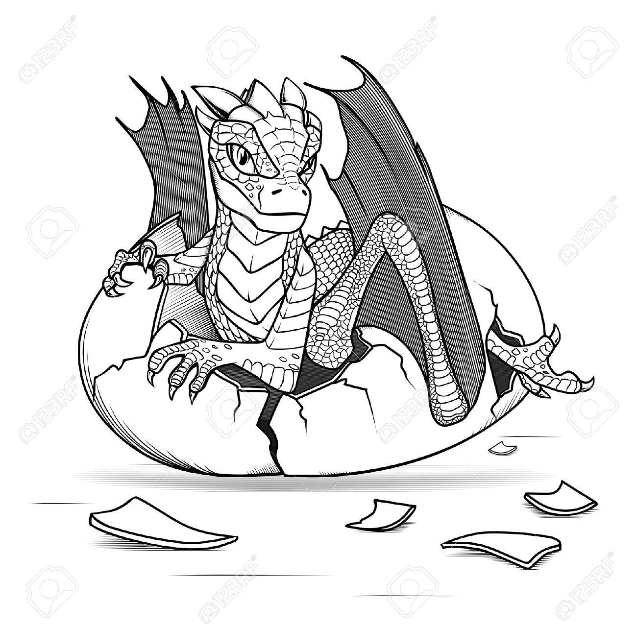 Dragón Del Bebé Nacido De Un Huevo Ilustraciones Vectoriales, Clip ...