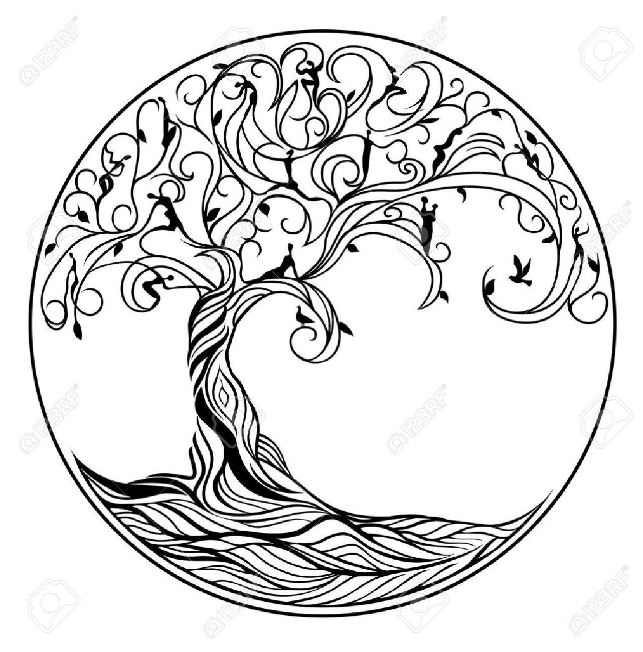 Baum Des Lebens Auf Weißem Hintergrund Lizenzfrei Nutzbare