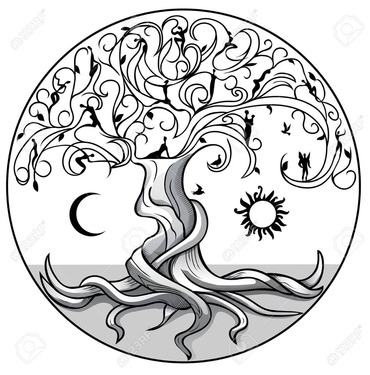 Baum Des Lebens Mit Sonne Und Mond Auf Weißem Hintergrund Lizenzfrei