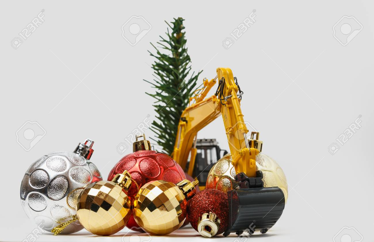 Bulldozer personalized ornament yellow backhoe construction