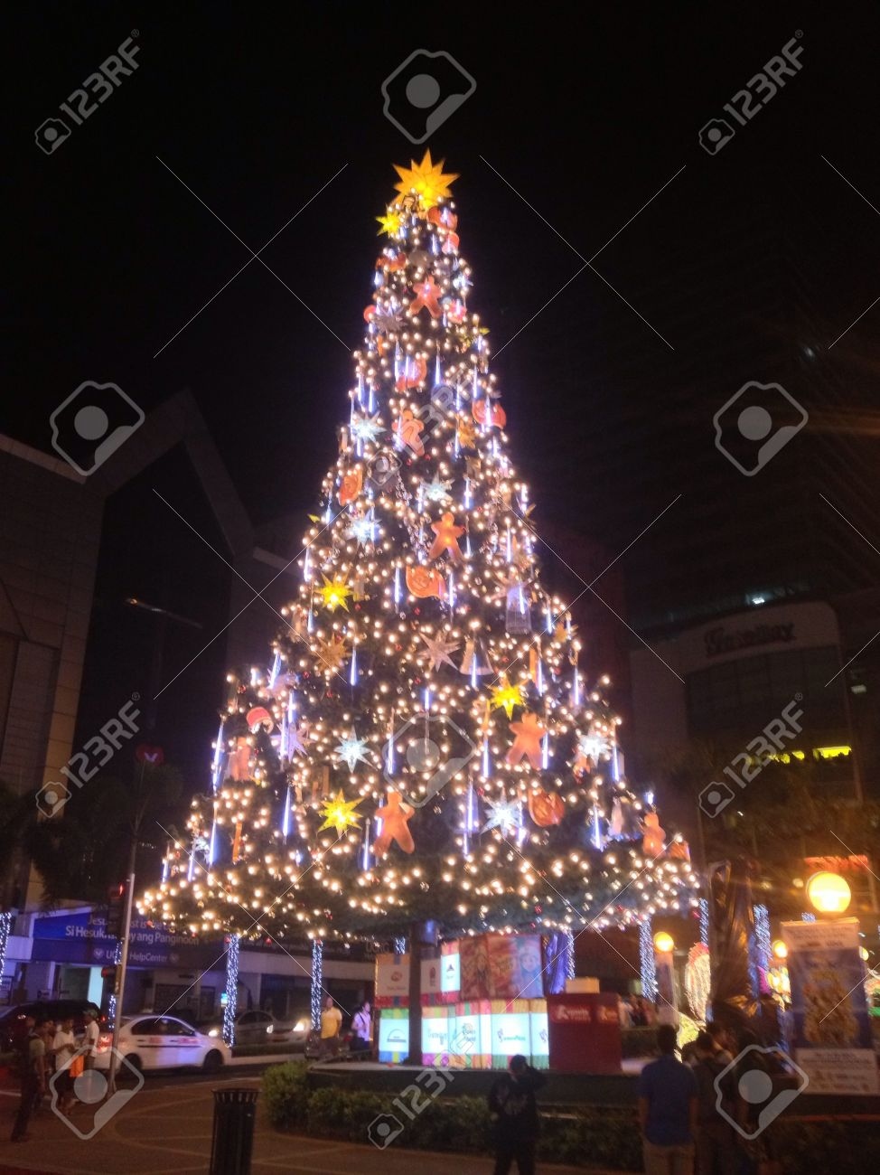Big Christmas Tree Decorated With Lights Stock Photo, Picture And ...