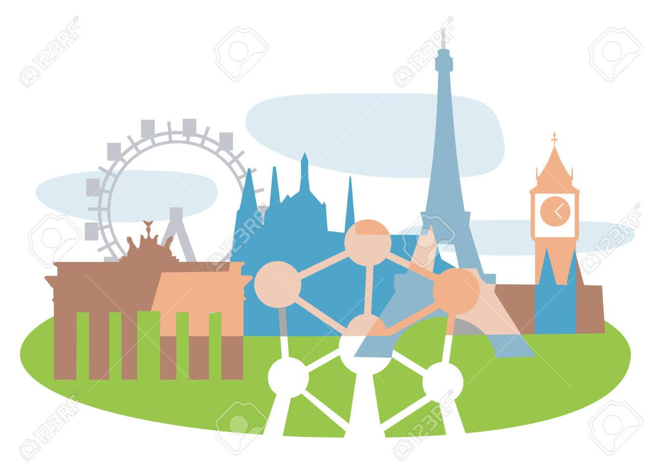 Collage of Famous European buildings, vector illustration. Stock Vector - 4655855