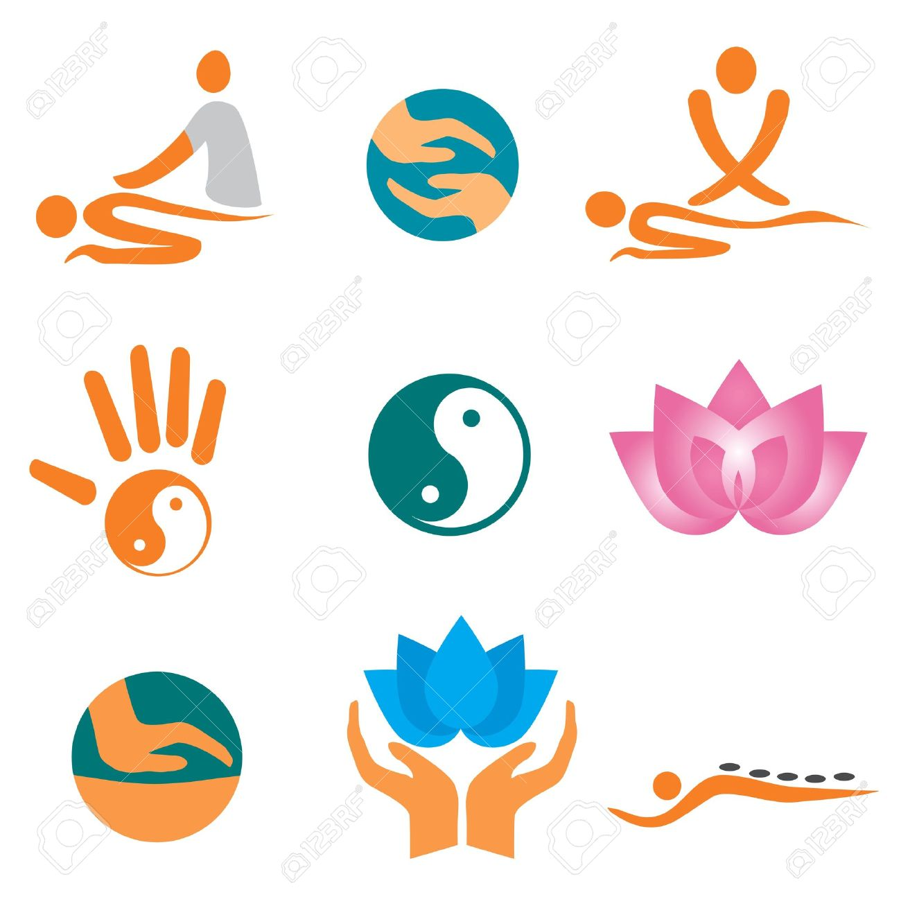 Set of massage , wellnes and spa icons. Stock Vector - 9153391