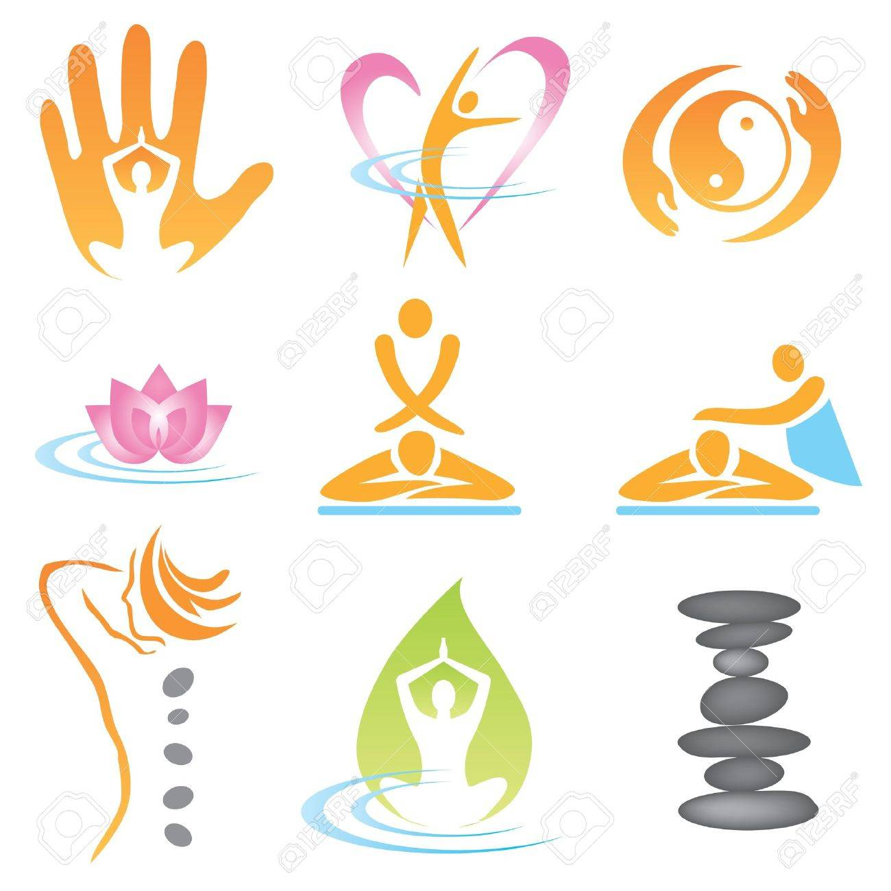 Set of massage , wellnes and spa icons. Vector illustration. - 10828167