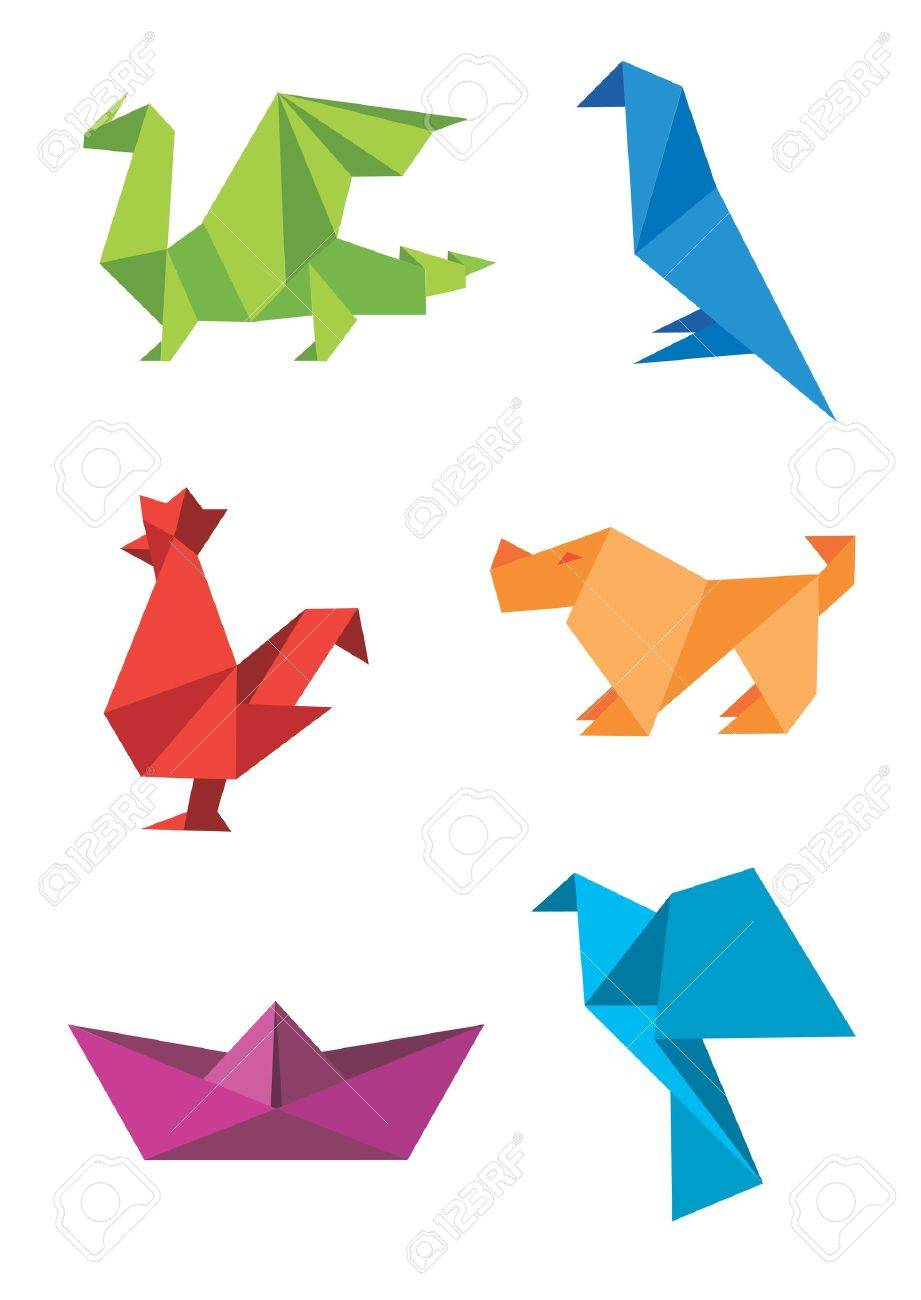 Set of origami colorful icons, animals and boat. illustration. Stock Vector - 12119273