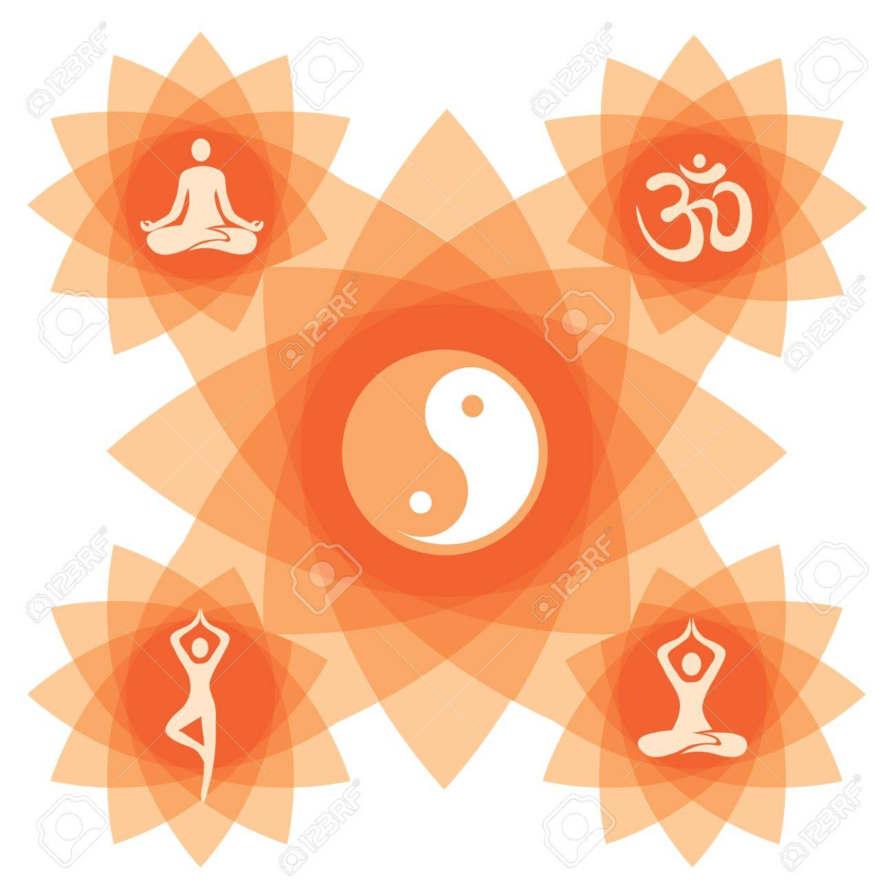 Abstract Decorative Backgound With Yoga Symbol And Positions ...