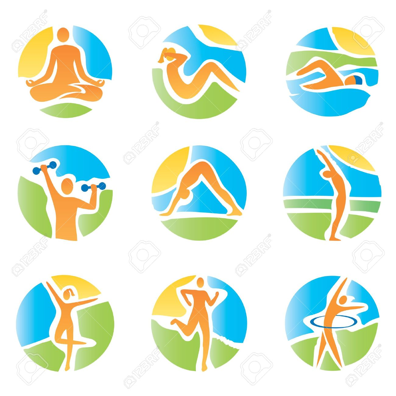 Colorful icons with fitness and healthy lifestyle activities on an abstract landscape background  Expressive watercolor imitating vector illustration Stock Vector - 19428321