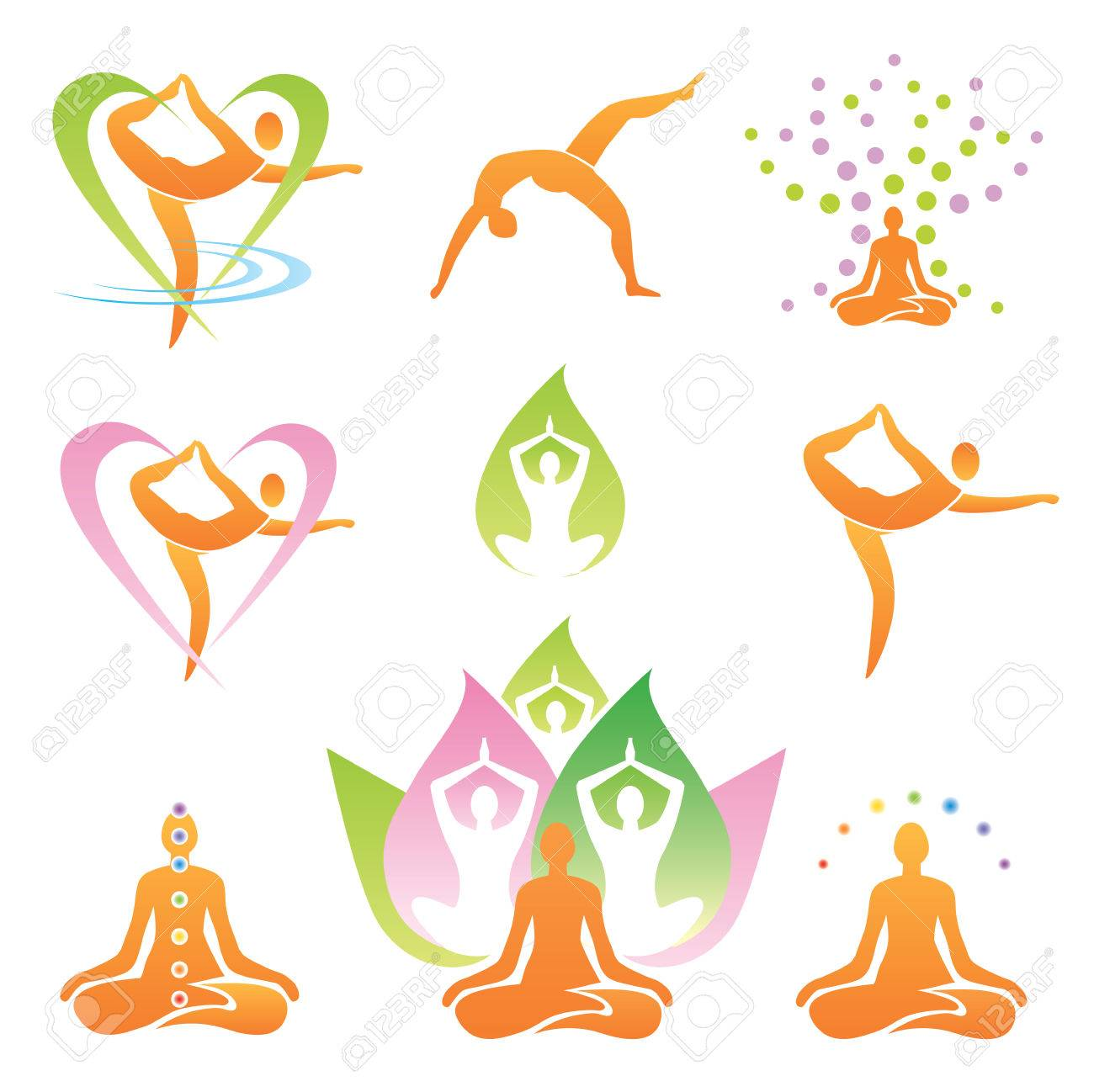 Icons of yoga positions, meditation  and symbols  Vector illustration Stock Vector - 23215620