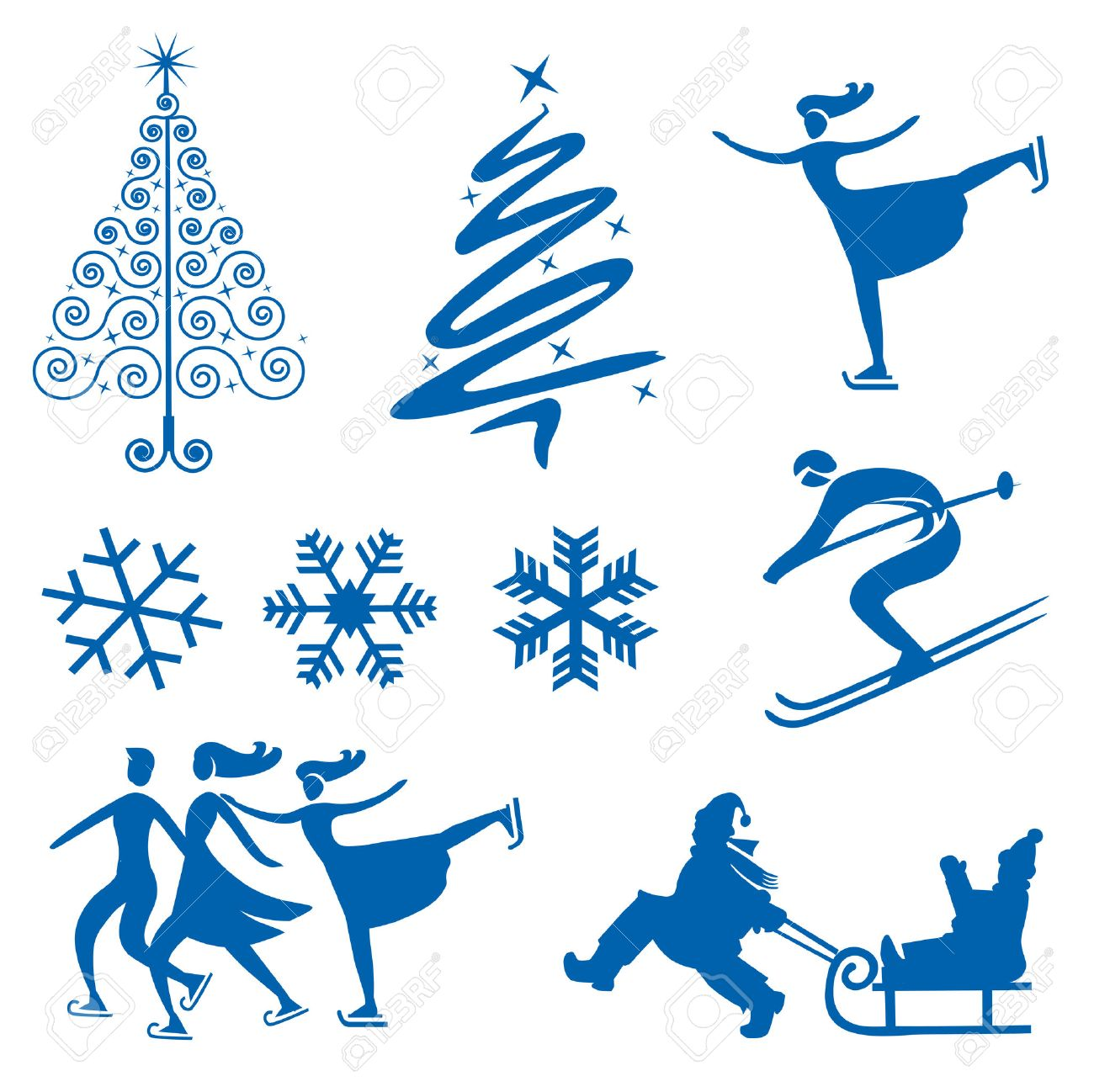 Set of winter christmas design elements  silhouettes of snowflakes christmas trees and Ice skaters  Vector illustration Stock Vector - 23215624
