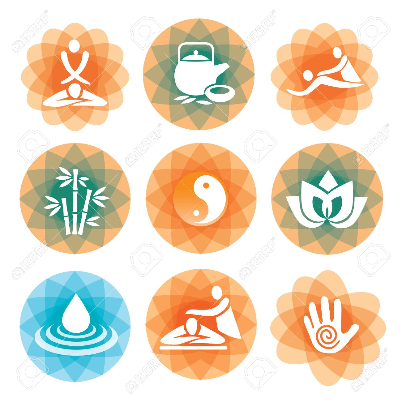 8 248 massage therapy stock illustrations cliparts and royalty massage therapy set of massage yoga and spa icons on the colorful abstract background
