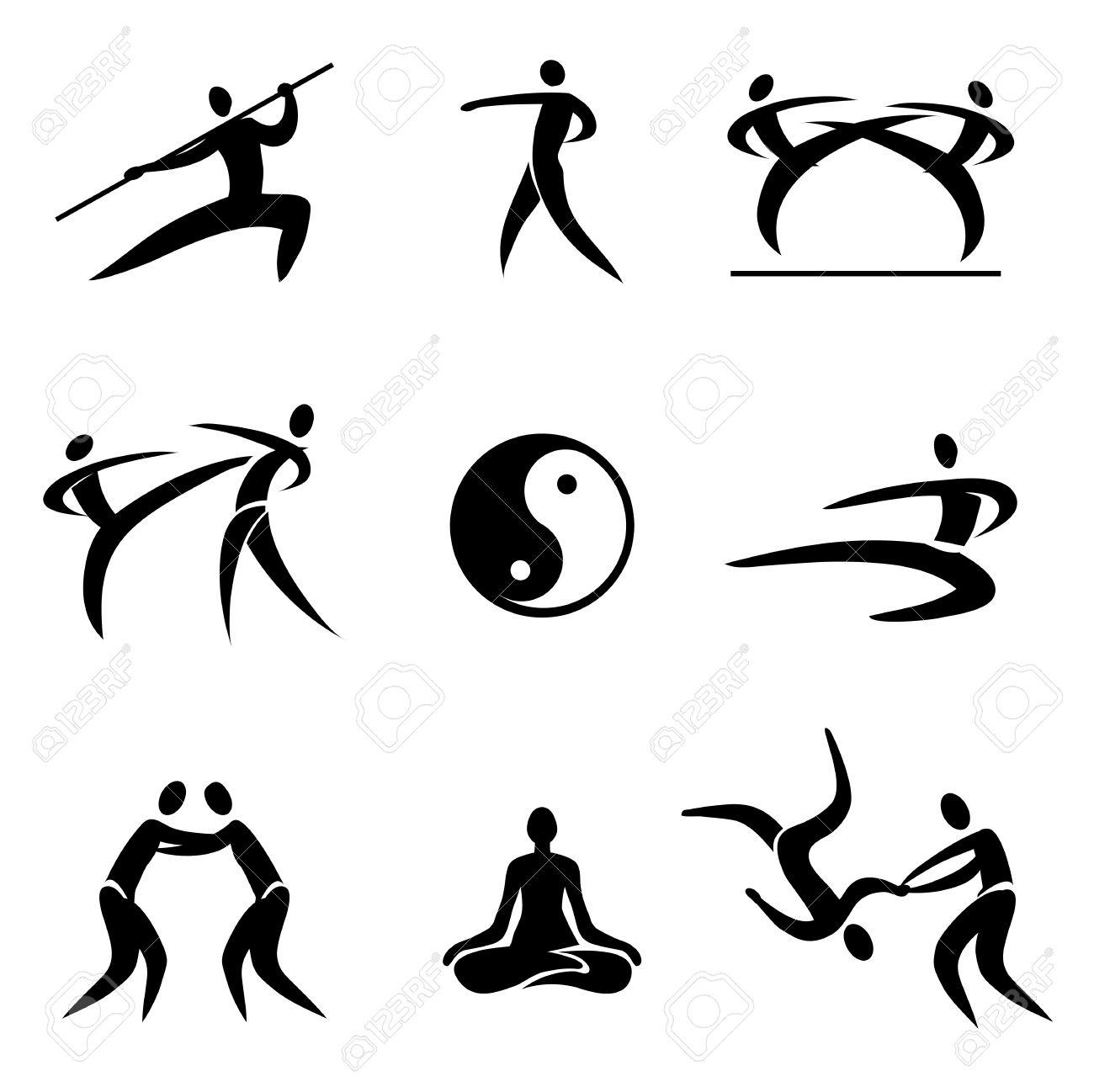 Sport Asiatique simple sport pictogrammes arts martiaux asiatique icônes vector