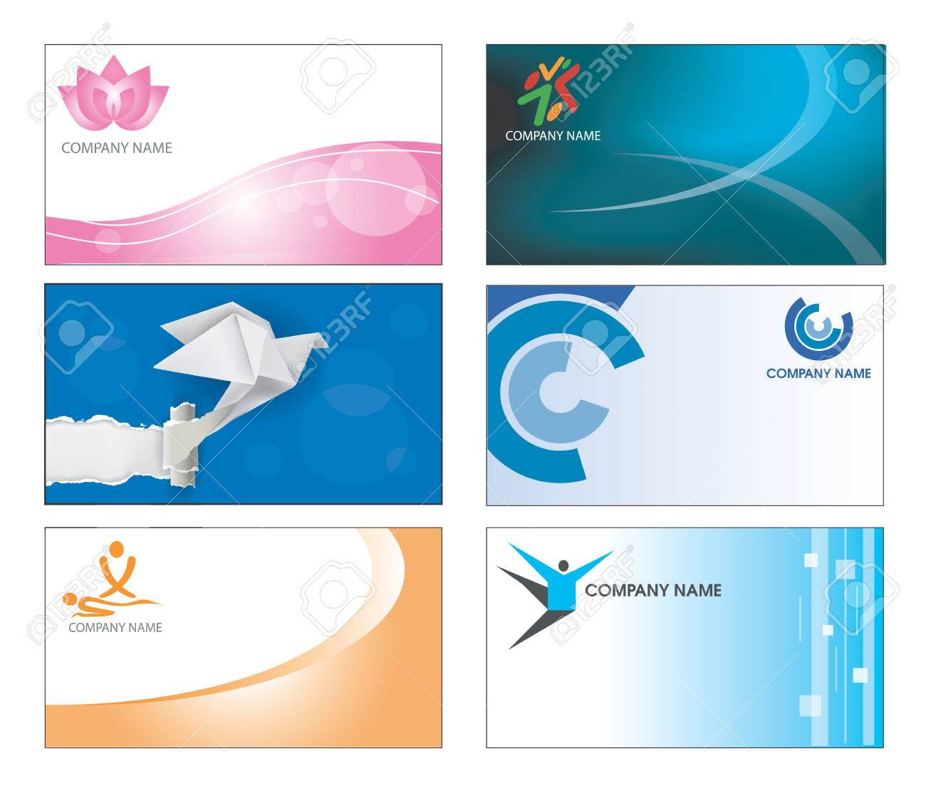 Collection of six corporate business card templates in multicolor collection of six corporate business card templates in multicolor design illustration stock vector 27373921 accmission Image collections
