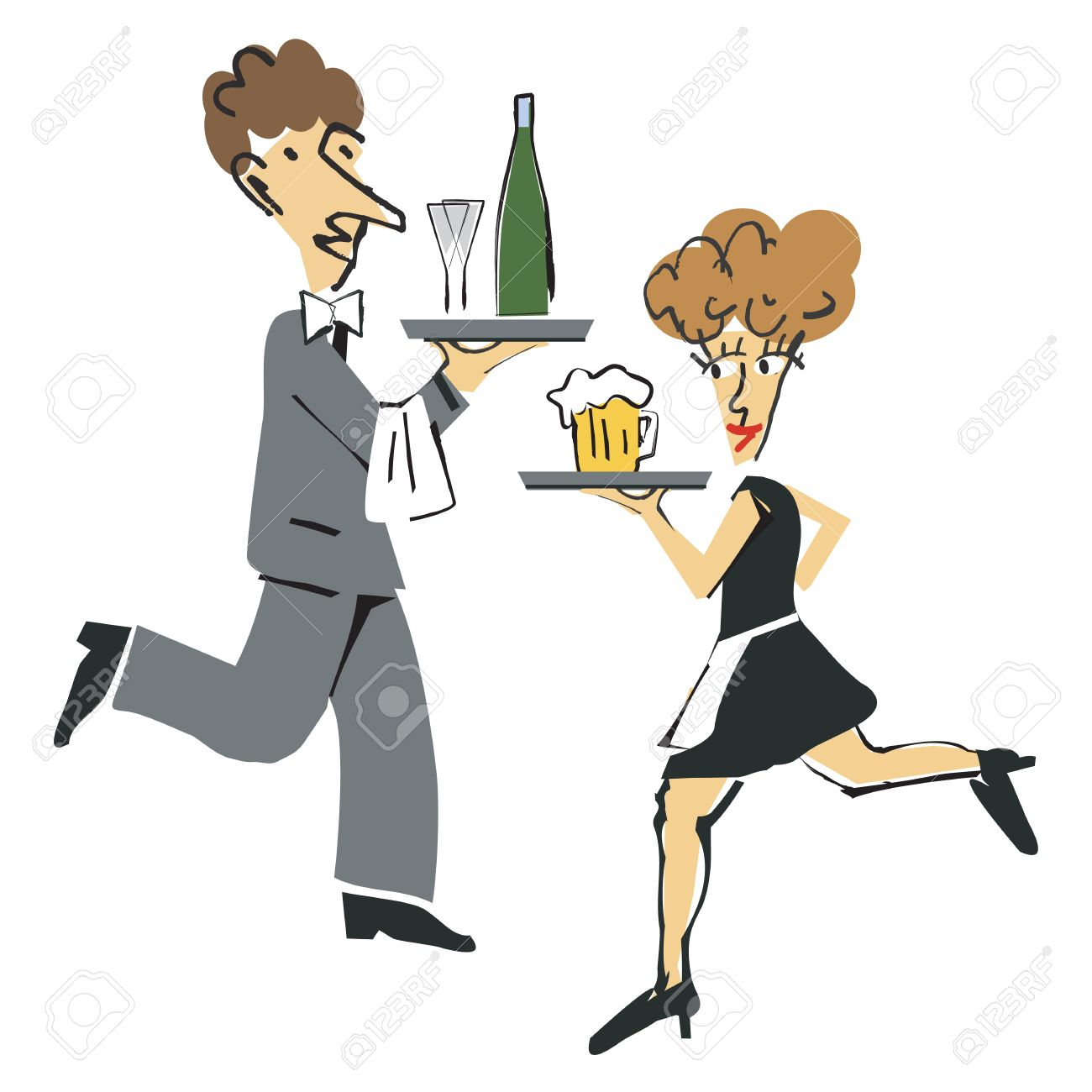 Vector - Waiter and waitress  Waiters And Waitresses Clipart