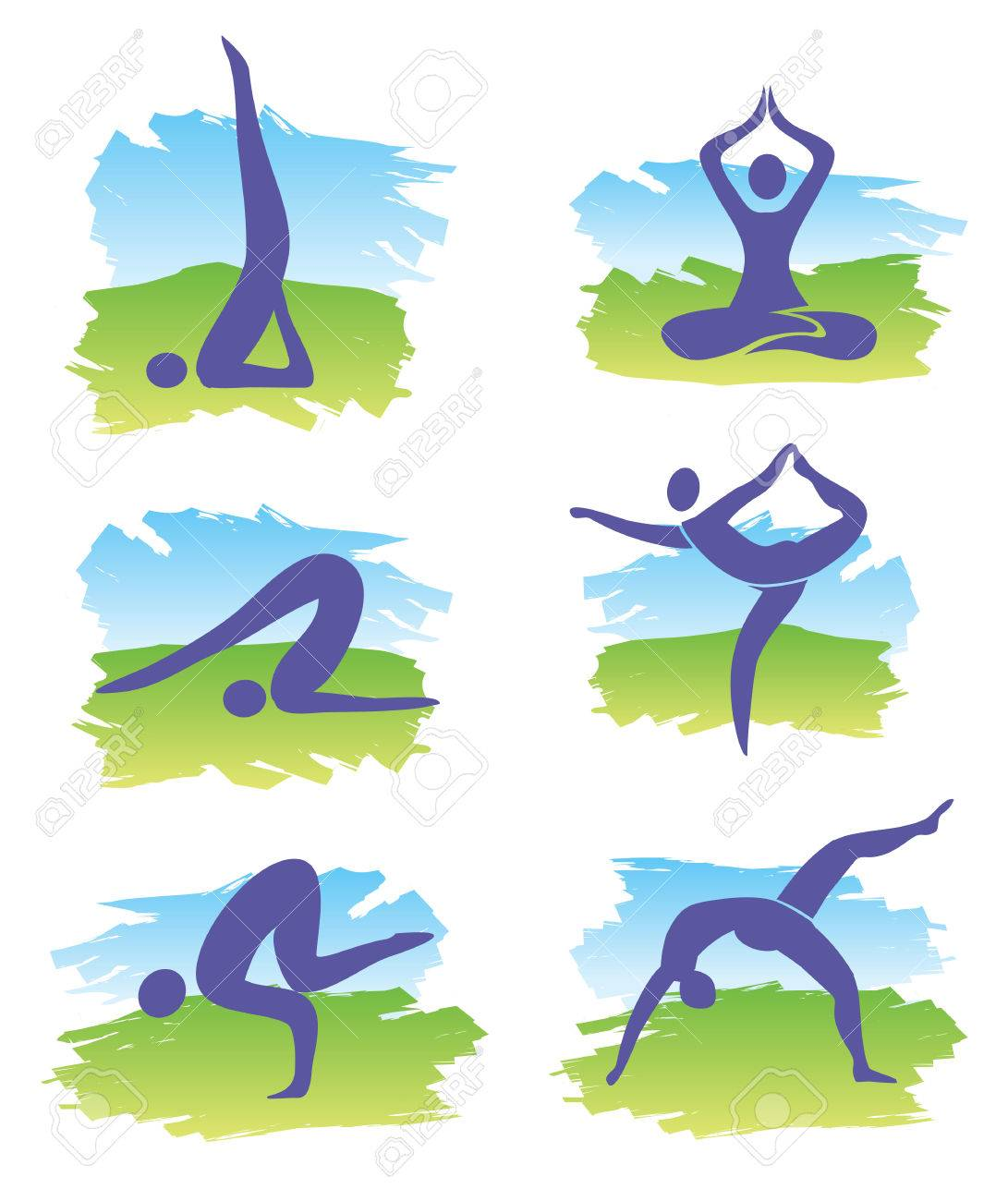 Set of yoga symbols on the colorful background imitating watercolors  Vector illustration Stock Vector - 27896166