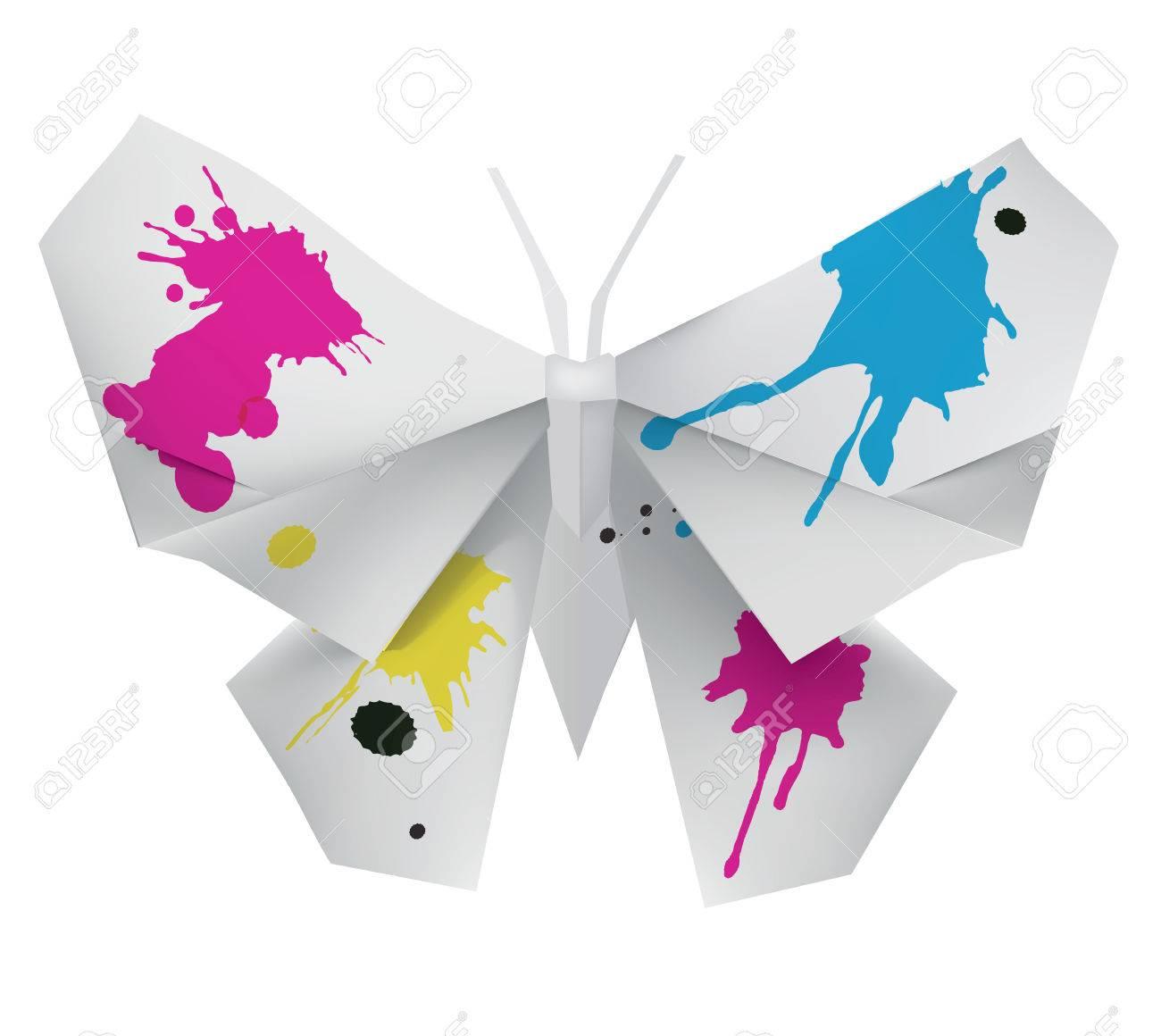 Mariposa De Origami Con Tinta. Ilustración Que Simboliza Bellas ...