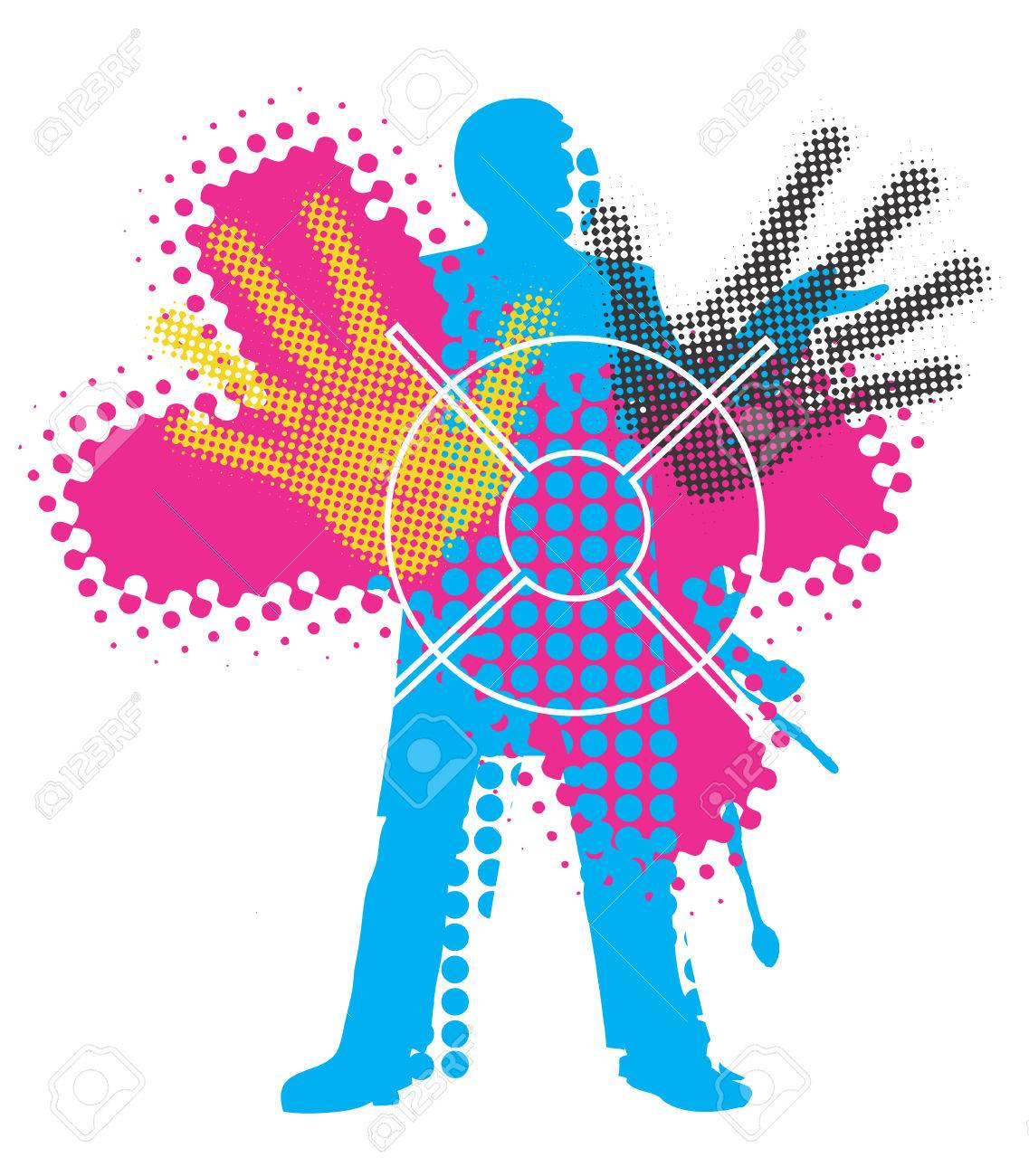 grunge background with male silhouette with print colors concept